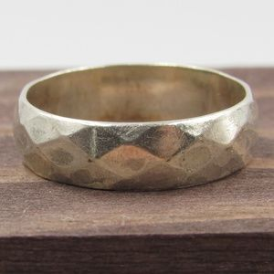 Size 8 Sterling Silver Rustic Hammered Band Ring